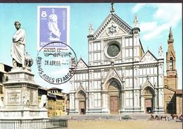 Dante Alighieri Statue In Florence Maximum Card Argentina 1966 - Argentina