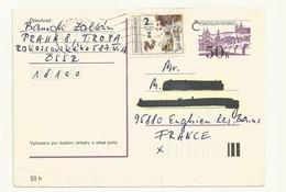 ENTIER POSTAL  TCHECOSLOVAQUIE  + AFFRANCHISSEMENT COMPLEMENTAIRE - Postales
