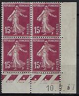 "FR Coins Datés YT 189 II "" Semeuse Camée 15c. Brun-lilas "" Neuf** Du 10.7.37 - ....-1929"