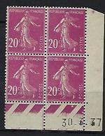 "FR Coins Datés YT 190 V "" Semeuse Camée 20c. Lilas-rose "" Neuf* Du 30.3.37 - ....-1929"