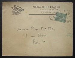Mercure De France, (maison D'édition) 1919 Paris , Logo Avec Vires Acquirit Eundo - Marcophilie (Lettres)