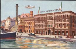 CP Cartolina Postale Brindisi Hôtel International Internazionale Hydravion Bateau Port Drapeau Italien Lithographie - Brindisi