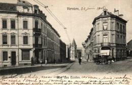 Verviers, Rue Des Ecoles, Geschäft Mit Kutsche, 1906 Nach Luxemburg Versandt - Verviers