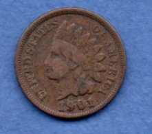 USA  - 1 Cent 1901  -  Km # 90a-  état  TB+ - 1859-1909: Indian Head