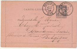 Entier Carte Lettre 25c Sage O. Daguin Beauvais Oise 1895 -> Belgique - 1877-1920: Semi-moderne Periode