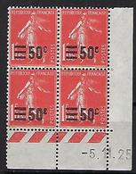 "FR Coins Datés YT 225 "" Semeuse 50c. S. 1F05 Vermillon "" Neuf** Du 5.11.25 - ....-1929"