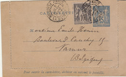 Entier 15c Sage + Complément 10c Cad Paris La Béotie -> Belgique 1893 - 1877-1920: Semi-moderne Periode