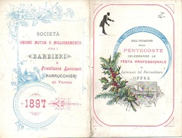"07563 ""1897 - RICORDINO PENTECOSTE - FESTA PROFESSIONALE LAVORANTI DEI PARRUCCHIERI - TORINO"" ORIG. - Calendars"