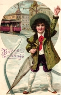 """St. Gallen, Neujahr, Prägekarte, Junge Mit Strassenbahn,  1907, Poststempel """"Corsemont"""" - SG St. Gallen"""