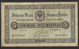 FINLAND 5 MARKKAA 1886 PICK # A50 VF/VF+ ULTRA RARE BANKNOTE - Finlande