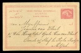 EGYPTE Cinq Mill Handgeschreven POSTKAART Uit 1896 Van S.S. PRINSES SOPHIE Naar KOTA-RADJA ATJEH * NED-INDIE  (11.453h) - 1866-1914 Khedivaat Egypte