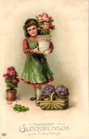 Geburtstag, Mädchen Mit Rosen, Prägekarte, Um 1910/15 - Geburtstag