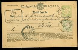 Handgeschreven Postkarte Königreich Bayern * 1 Kreuzer * Gelopen In 1875 Van MUNCHEN Naar WIEN ( (11.453m) - Bavaria