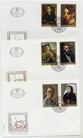 YUGOSLAVIA 1977 Self-portraits On 3 FDCs.  Michel 1708-13 - FDC