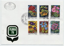 YUGOSLAVIA 1975 Flowers On FDC.  Michel 1601-06 - FDC