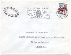 COURSE AUTOMOBILE = 72 LE MANS GARE 1965 = FLAMME SECAP Illustrée ' 24 HEURES / CIRCUIT BUGATTI ' Sur ENVELOPPE ENTIERE - Marcophilie (Lettres)