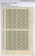 Rare : Planche Taxe 20c Olive, Impression De 1920 (Mill. 0) Sur Papier E - Taxes