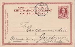 Crète Entier Postal Candia Pour L'Allemagne 1907 - Crète