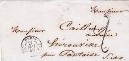 Paris D 1850 Pour Pontoise Ligne De Calais N°2 - 1849-1876: Période Classique