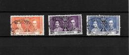 Sierra Leone KGVI 1937 Coronation, Complete Set Used (7117) - Sierra Leone (...-1960)