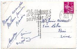 COURSE AUTOMOBILE = 72 LE MANS GARE 1958 = FLAMME Sur CARTE POSTALE = SECAP Illustrée ' 24 HEURES  ' - Postmark Collection (Covers)