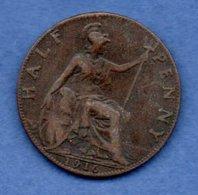 Grande Bretagne  - 1/ 2 Penny 1916 -  Km # 809  -  état  TTB - 1902-1971 : Monnaies Post-Victoriennes