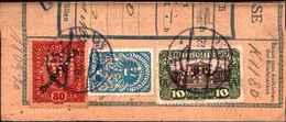 73251)  AUSTRIA-RICEVUTA OLLETTINO PACCHI CON 10K.PARLAMENTO+1K.SOG.VARI+80H.SPRASTAMPATO TUTTI PERFIN 18-9-1920 - 1931-Oggi: 2. Rep. - ... Juan Carlos I