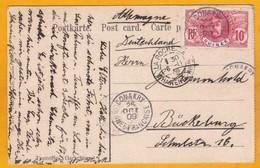 1909 - CP De Conakry, Guinée Fraçaise Vers Buckering, Allemagne Via La Rochelle - Voie Maritime - YT 37 Faidherbe - Postmark Collection (Covers)