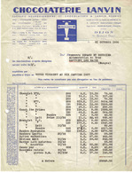 Facture CHOCOLAT LANVIN L'Oiseau Blanc 14 Bd Carnot à DIJON Du 31 Octobre 1936 Siège Social à Brazey En Plaine - Alimentaire