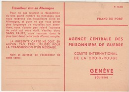 Carte Franchise Non Utilisée / Prisonnier De Guerre / Travailleur Civil Allemagne / Croix Rouge Genève - Militaria