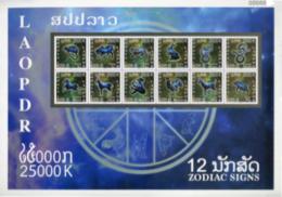 Laos - New Issue 2018 Set SS-BF PERF & SS-BF BF NPERF Zodiac Signs - Laos