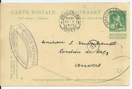 Postkaart Met Type OCB 110 - Afstempeling SCHOONAARDE - COBA 8 - 1912 Pellens