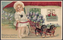 AK Tolle Prägekarte Embossed Pilz Mädchen Hunde-Gespann   (22605 - Ansichtskarten