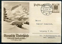 """German Empires 1936 GS Olympische Winterspiele Mi.Nr.P257 Mit Klaren Tagesstempel.""""Geringswalde""""1 GS Used - Winter 1936: Garmisch-Partenkirchen"""