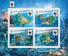 SOLOMON ISLANDS 2015 SHEET WWF FISHES POISSONS MARINE LIFE HUMPBACK GROUPER CROMILEPTES ALTIVELIS WILDLIFE Slm15501a - Salomon (Iles 1978-...)