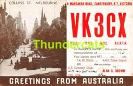 CPA AUSTRALIA COLLINS STREET MELBOURNE GREETINGS QSL RADIO CARD VK3CX - Melbourne