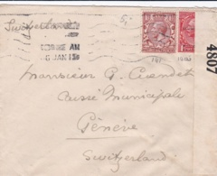Censored British Cover From Bornemouth 6.1.1915 And Censored By British Autohorities (label) Posted To Geneve - Militaria