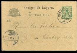 Handgeschreven Postkarte Königreich Bayern * 5 Pf * Gelopen In 1897 Van NURNBERG Naar GRUNBERG  (11.453q) - Beieren