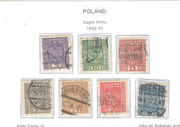 Polonia PO 1932/33 Eagle Arms    Scott.268/274+See Scan On Scott.Page; - Usati