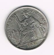/ FRENCH  INDO - CHINA  PIASTRE DE COMMERCE  1908 ( REPLICA ? ) - Colonies