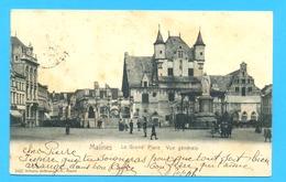 PK/CP MALINES 1904 : La Grand' Place  Vue Générale. Met STERstempel ALSEMBERG. - Mechelen