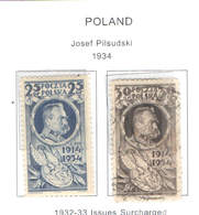Polonia PO 1934 J.Pilsudski.    Scott.282+283+See Scan On Scott.Page; - 1919-1939 Republic
