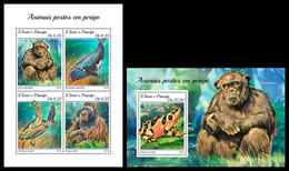 S. TOME & PRINCIPE 2018 - Chimpanzee, Endangered Sp. (Small). M/S + S/S Official Issue - Chimpanzés