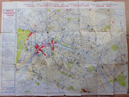 Plan De Paris Exposition De 1937 Sté Des Transports En Commun De La Région Parisienne - Reiseprospekte