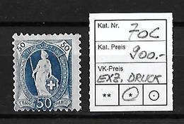 1882-1904 STEHENDE HELVETIA → SBK-70C*    ►exzentr. Druck/Verzahnung ►RRR◄ - Neufs