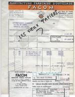 94 - Val-de-marne - GENTILLY - Facture FACOM - Manufacture D'outillage - 1951 - REF 110C - 1900 – 1949