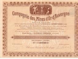 Ancienne Action - Compagnie Des Mines D'Or D'Auvergne - Titre De 1910 - N°20748 - - Mines
