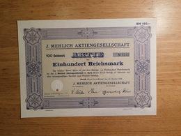 J. Mehlich Aktiengesellschaft, 100 Reichsmark Aktie, Einhundert Reichsmark (Box1) - Aandelen