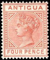 Antigua 1884-87 4d Chestnut Lightly Mounted Mint. - Antigua & Barbuda (...-1981)