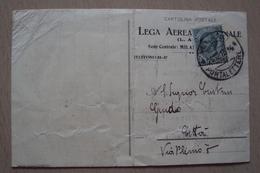 STORIA POSTALE CARTOLINA INTESTATA LEGA AEREA NAZIONALE DI MILANO 1915 PER AVIATORE CUSTRIN GUIDO - 1900-44 Vittorio Emanuele III